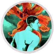 Enchanted Boy With Lilies Round Beach Towel