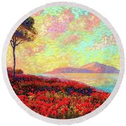 Enchanted By Poppies Round Beach Towel