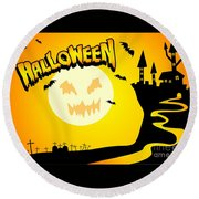 Enchanted Castle Over The Zombies Cemetery In Halloween Night Round Beach Towel