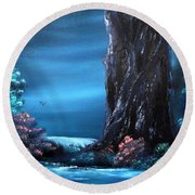 Enchanted Oak By Moonlight Round Beach Towel by Cynthia Adams