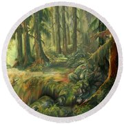 Enchanted Rain Forest Round Beach Towel