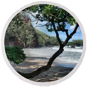 Enchanted Rocks Koki Beach Haneoo Hana Maui Hawaii Round Beach Towel