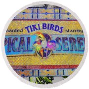 Enchanted Tiki Birds Round Beach Towel