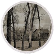 Home In The Wood Round Beach Towel