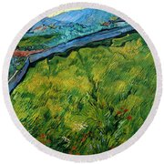 Enclosed Wheat Field With Rising Sun, By Vincent Van Gogh, 1889, Round Beach Towel