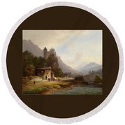 Encounter In A Mountain Valley Round Beach Towel