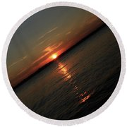 End Of An Off Balance Day Round Beach Towel