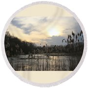 End Of Day At The Lake Round Beach Towel