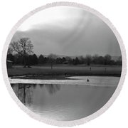 End Of Day Reflections Round Beach Towel