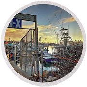 End Of Fishing Day Round Beach Towel