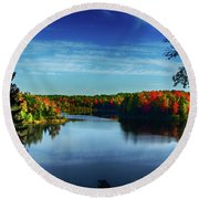 End Of The Day At The Lake Round Beach Towel