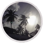 End Of The Day In The Islands Round Beach Towel