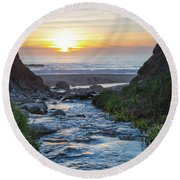 End Of The Road - Creek Runs Into Pacific Ocean At Big Sur Round Beach Towel