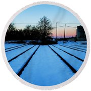End Of The Tracks Round Beach Towel