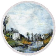 End Of Winter - Acrylic Landscape Painting On Cotton Canvas Round Beach Towel