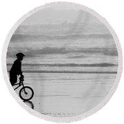 Endless Possibilities - Black And White Round Beach Towel