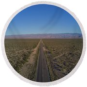 Endless Road Aerial  Round Beach Towel