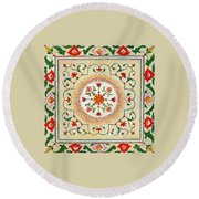 Enduring Love Floral Painting Round Beach Towel