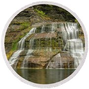 Enfield Falls Tompkins County New York Round Beach Towel