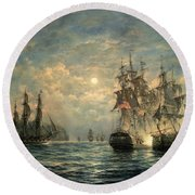 Engagement Between The 'bonhomme Richard' And The ' Serapis' Off Flamborough Head Round Beach Towel