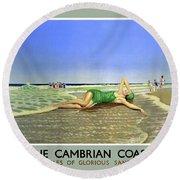England Cambrian Coast Vintage Travel Poster Round Beach Towel