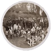 England: Hunters, C1905 Round Beach Towel
