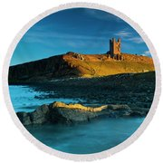 England, Northumberland, Dunstanburgh Castle Round Beach Towel