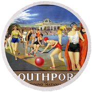 England Southport Restored Vintage Travel Poster Round Beach Towel