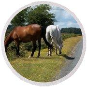 England - Wild Horses Round Beach Towel