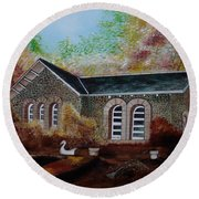 English Cottage In The Autumn Round Beach Towel