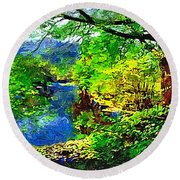 English Country Lake 1d Round Beach Towel