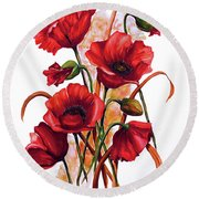 English Poppies 2 Round Beach Towel