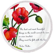 English Poppy   Poem Round Beach Towel