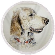 English Setter Round Beach Towel