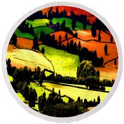 English Summer Fields Round Beach Towel