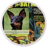 English Toy Terrier Art Canvas Print - Batman Movie Poster Round Beach Towel