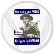 Englishman - This Man Is Your Friend Round Beach Towel