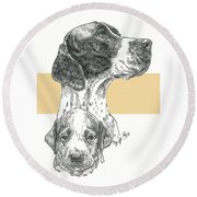 English Pointer And Pup Round Beach Towel