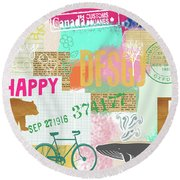 Enjoy Every Moment Collage Round Beach Towel
