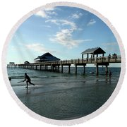 Enjoy The Beach - Clearwater Pier Round Beach Towel