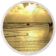 Enjoying The Beach At Sunset Round Beach Towel