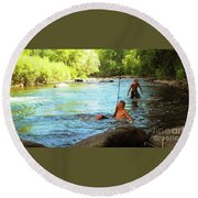 Enjoying The Cool Creek Round Beach Towel