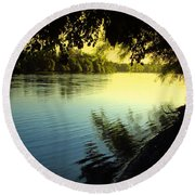 Enjoying The Scenic Beauty Of The Sacramento River Round Beach Towel
