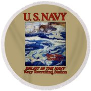 Enlist In The Navy - Help Your Country Round Beach Towel
