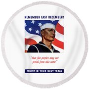 Enlist In Your Navy Today - Ww2 Round Beach Towel