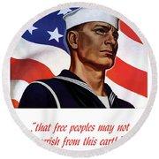 Enlist In Your Navy Today - Ww2 Round Beach Towel