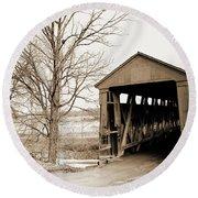 Enochsburg Indiana Covered Bridge Round Beach Towel