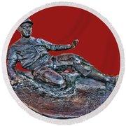 Enos Country Slaughter Statue - Busch Stadium Round Beach Towel