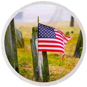Enriched American Flag - Remember Round Beach Towel