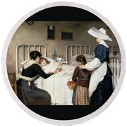 Enrique Paternina Garcia Cid - Mother Visit To The Hospital 1892 Round Beach Towel